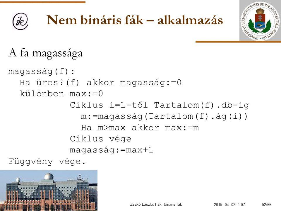 Nem bináris fák – alkalmazás Zsakó László: Fák, bináris fák A fa magassága magasság(f): Ha üres?(f) akkor magasság:=0 különben max:=0 Ciklus i=1-től T