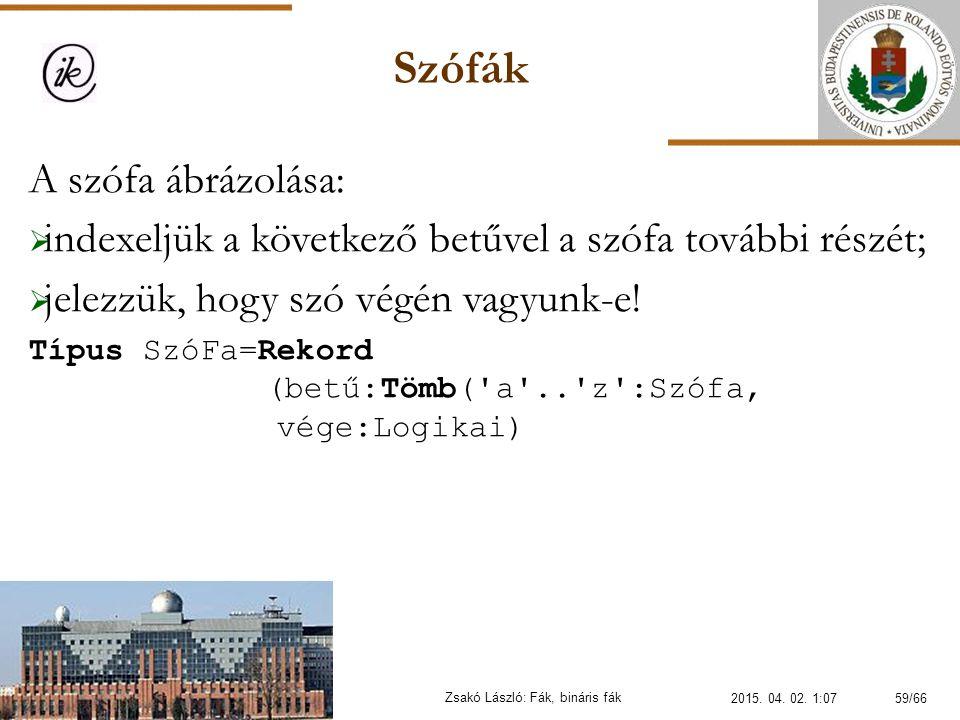 Szófák Zsakó László: Fák, bináris fák A szófa ábrázolása:  indexeljük a következő betűvel a szófa további részét;  jelezzük, hogy szó végén vagyunk-