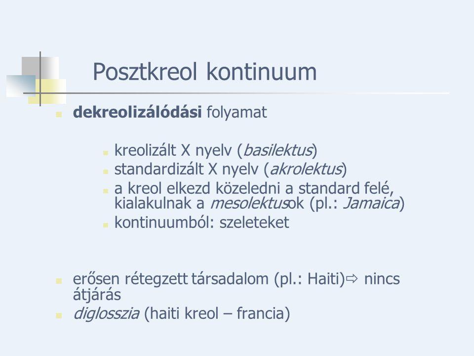 Posztkreol kontinuum dekreolizálódási folyamat kreolizált X nyelv (basilektus) standardizált X nyelv (akrolektus) a kreol elkezd közeledni a standard felé, kialakulnak a mesolektusok (pl.: Jamaica) kontinuumból: szeleteket erősen rétegzett társadalom (pl.: Haiti)  nincs átjárás diglosszia (haiti kreol – francia)