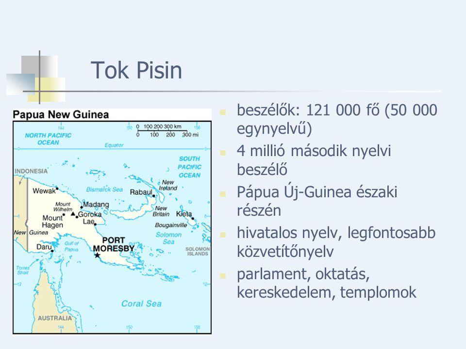 Tok Pisin beszélők: 121 000 fő (50 000 egynyelvű) 4 millió második nyelvi beszélő Pápua Új-Guinea északi részén hivatalos nyelv, legfontosabb közvetítőnyelv parlament, oktatás, kereskedelem, templomok