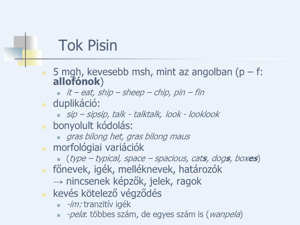 Tok Pisin 5 mgh, kevesebb msh, mint az angolban (p – f: allofónok) it – eat, ship – sheep – chip, pin – fin duplikáció: sip – sipsip, talk - talktalk, look - looklook bonyolult kódolás: gras bilong het, gras bilong maus morfológiai variációk (type – typical, space – spacious, cats, dogs, boxes) főnevek, igék, melléknevek, határozók → nincsenek képzők, jelek, ragok kevés kötelező végződés -im: tranzitív igék -pela: többes szám, de egyes szám is (wanpela)