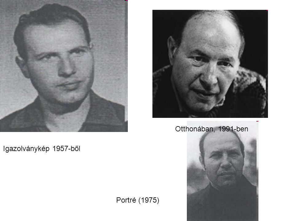 Igazolványkép 1957-ből Portré (1975) Otthonában, 1991-ben