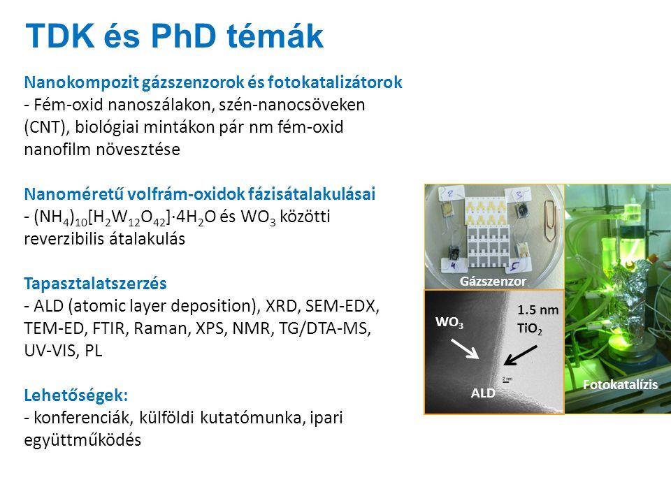 TDK és PhD témák Nanokompozit gázszenzorok és fotokatalizátorok - Fém-oxid nanoszálakon, szén-nanocsöveken (CNT), biológiai mintákon pár nm fém-oxid nanofilm növesztése Nanoméretű volfrám-oxidok fázisátalakulásai - (NH 4 ) 10 [H 2 W 12 O 42 ]·4H 2 O és WO 3 közötti reverzibilis átalakulás Tapasztalatszerzés - ALD (atomic layer deposition), XRD, SEM-EDX, TEM-ED, FTIR, Raman, XPS, NMR, TG/DTA-MS, UV-VIS, PL Lehetőségek: - konferenciák, külföldi kutatómunka, ipari együttműködés 1.5 nm TiO 2 WO 3 Gázszenzor Fotokatalízis ALD WO 3 Lótusz mikrodombjaiLótusz nanocsövei