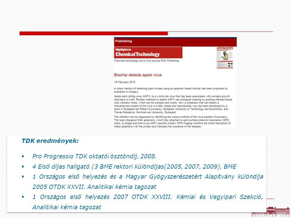 TDK eredmények:  Pro Progressio TDK oktatói ösztöndíj, 2008.