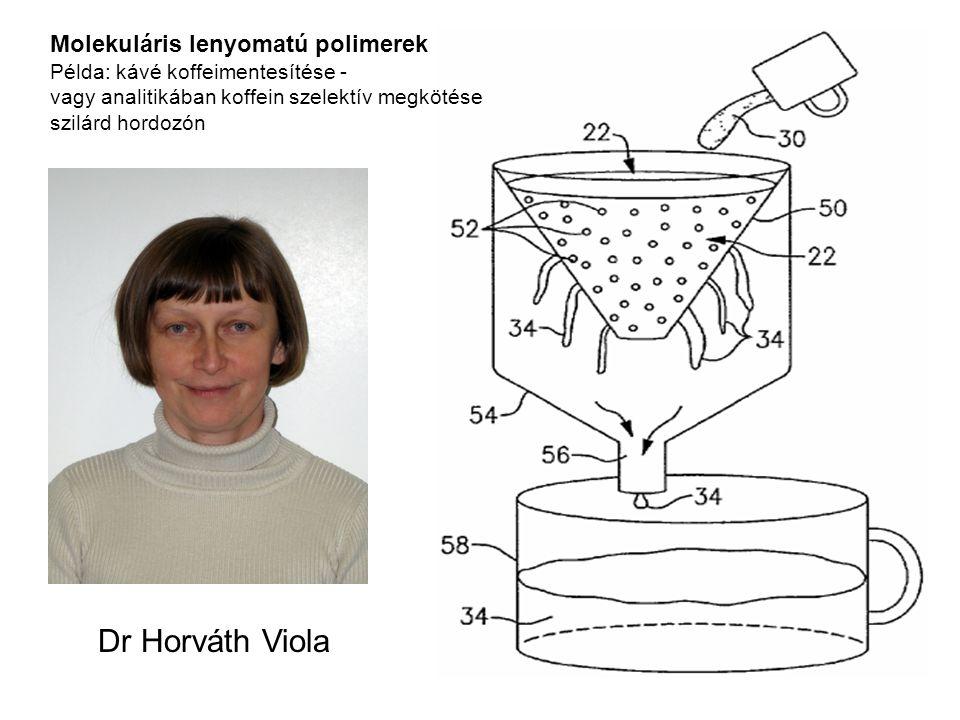 Molekuláris lenyomatú polimerek Példa: kávé koffeimentesítése - vagy analitikában koffein szelektív megkötése szilárd hordozón Dr Horváth Viola