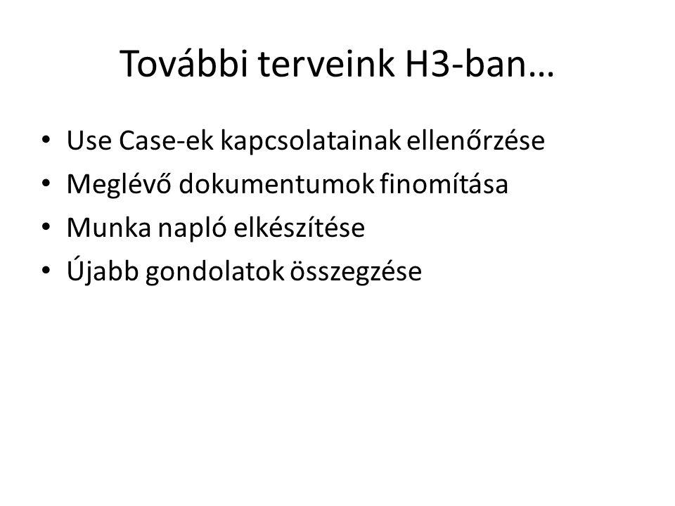 További terveink H3-ban… Use Case-ek kapcsolatainak ellenőrzése Meglévő dokumentumok finomítása Munka napló elkészítése Újabb gondolatok összegzése