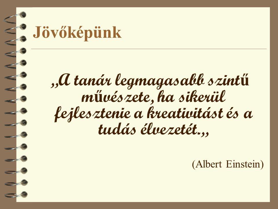 """Jövőképünk """"A tanár legmagasabb szint ű m ű vészete, ha sikerül fejlesztenie a kreativitást és a tudás élvezetét."""" (Albert Einstein)"""