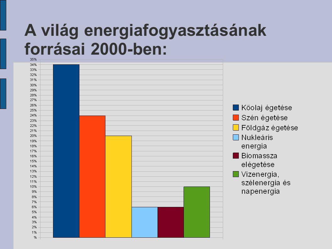 A világ energiafogyasztásának forrásai 2000-ben: