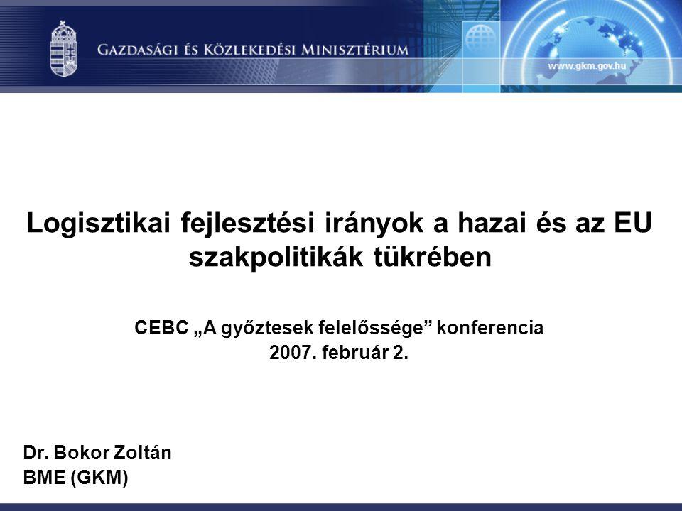 """Logisztikai fejlesztési irányok a hazai és az EU szakpolitikák tükrében CEBC """"A győztesek felelőssége konferencia 2007."""
