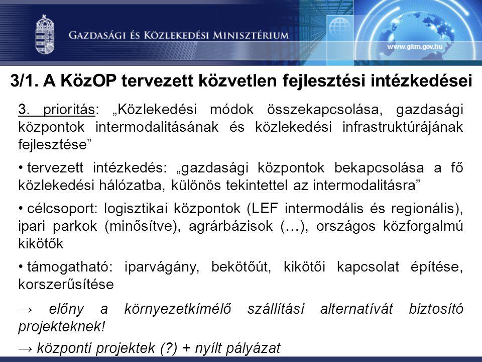 3/1. A KözOP tervezett közvetlen fejlesztési intézkedései 3.