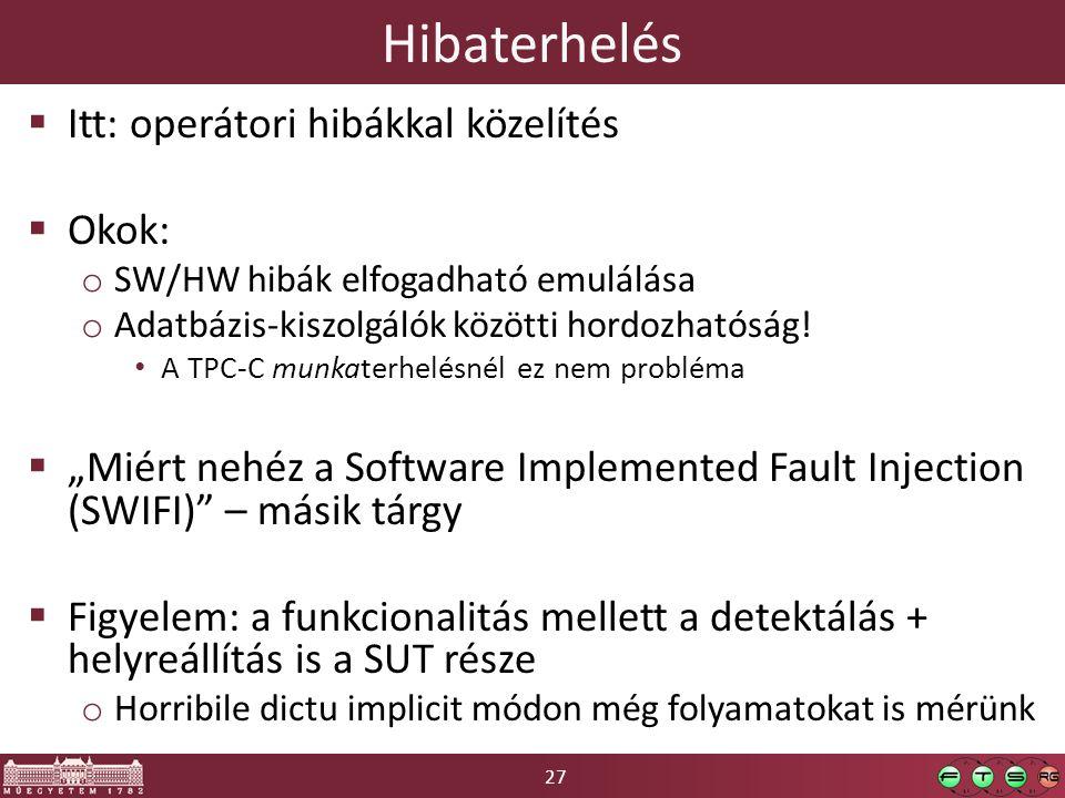 27 Hibaterhelés  Itt: operátori hibákkal közelítés  Okok: o SW/HW hibák elfogadható emulálása o Adatbázis-kiszolgálók közötti hordozhatóság.