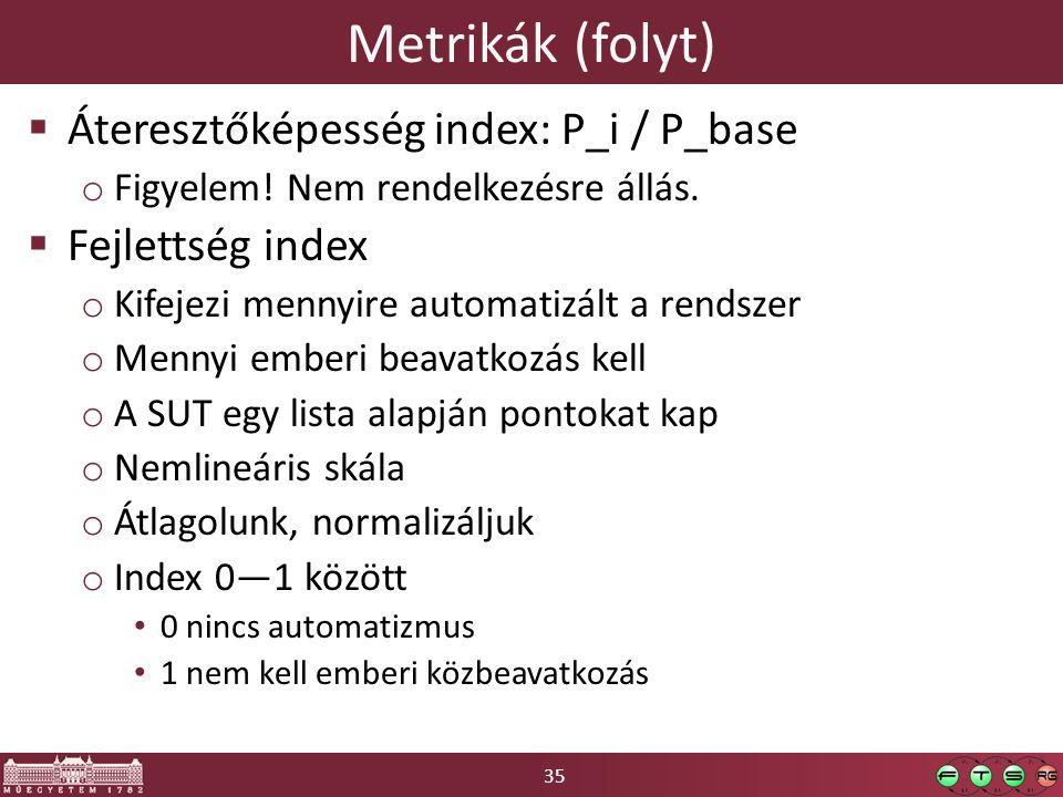35 Metrikák (folyt)  Áteresztőképesség index: P_i / P_base o Figyelem.