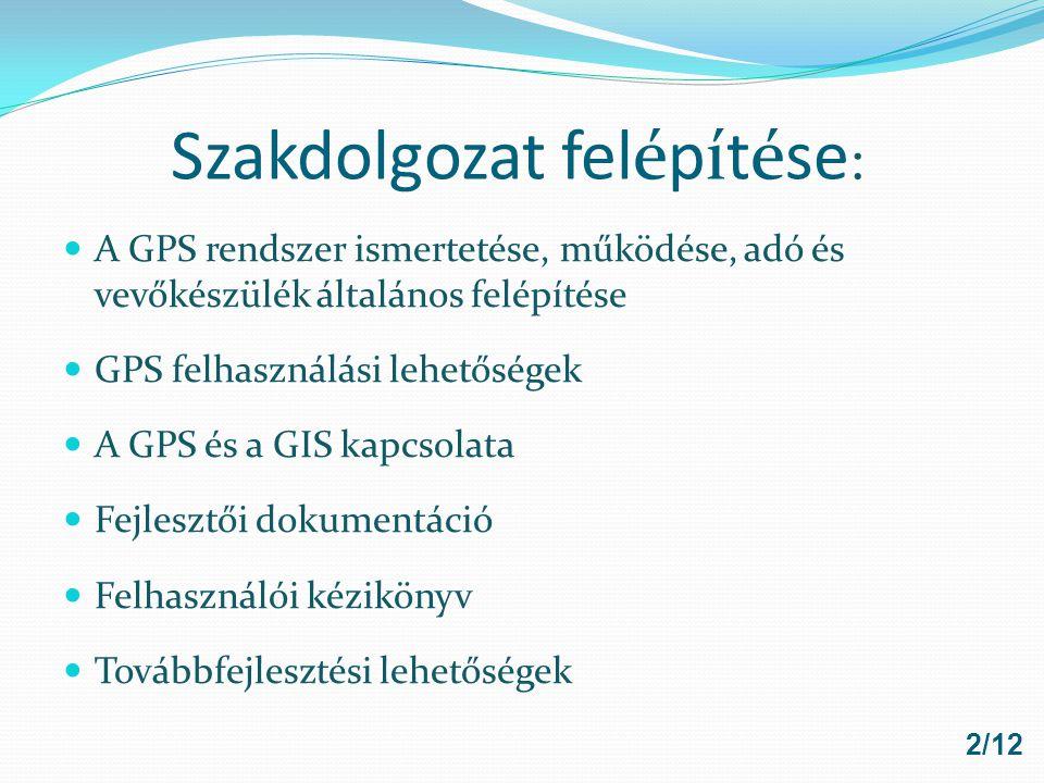 GIS és GPS kapcsolata 3/12 A térképészeti adatgyűjtés lehetséges forrása a GPS GIS adatok is konvertálhatók GPS-be (navigáció)