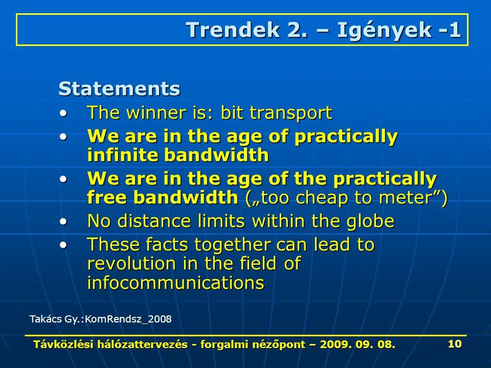 Távközlési hálózattervezés - forgalmi nézőpont – 2009. 09. 08. 10 Statements The winner is: bit transportThe winner is: bit transport We are in the ag