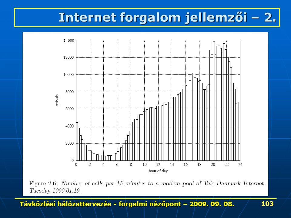 Távközlési hálózattervezés - forgalmi nézőpont – 2009. 09. 08. 103 14000 Internet forgalom jellemzői – 2.