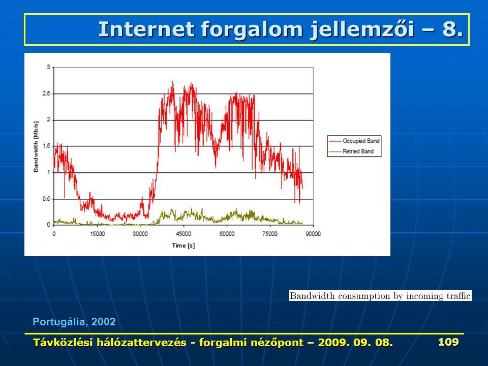 Távközlési hálózattervezés - forgalmi nézőpont – 2009. 09. 08. 109 Portugália, 2002 Internet forgalom jellemzői – 8.