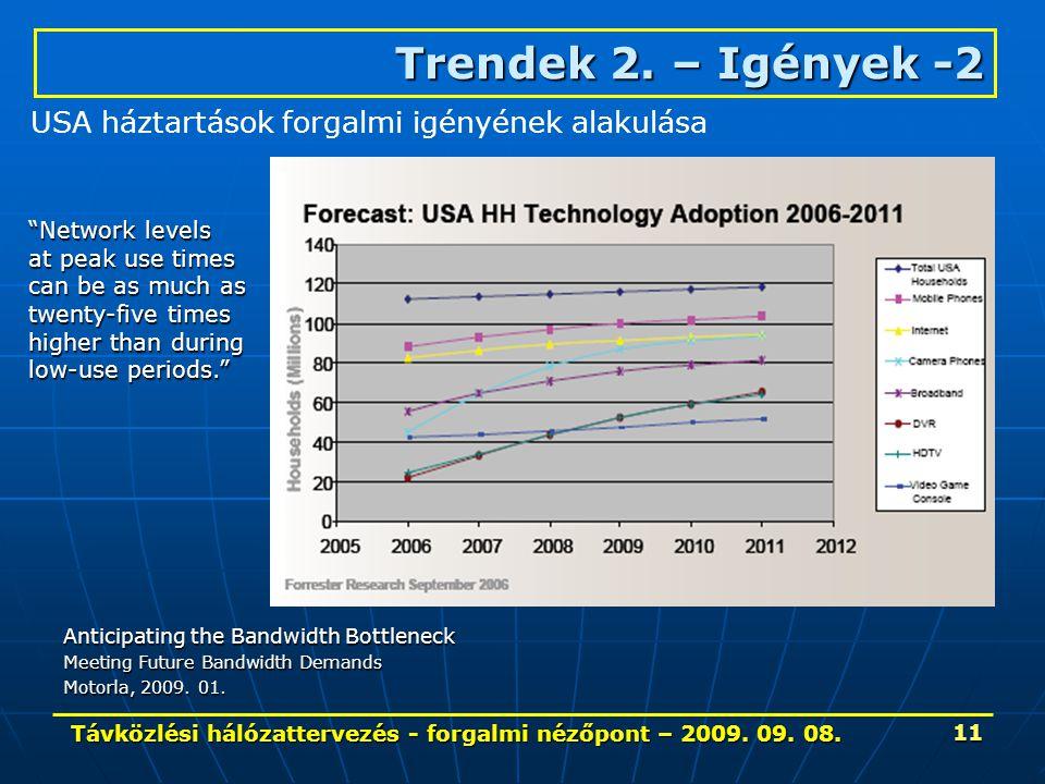 """Távközlési hálózattervezés - forgalmi nézőpont – 2009. 09. 08. 11 Trendek 2. – Igények-2 Trendek 2. – Igények -2 """"Network levels at peak use times can"""