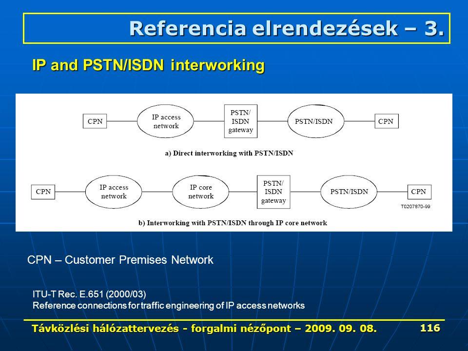 Távközlési hálózattervezés - forgalmi nézőpont – 2009. 09. 08. 116 Referencia elrendezések – 3. CPN – Customer Premises Network IP and PSTN/ISDN inter