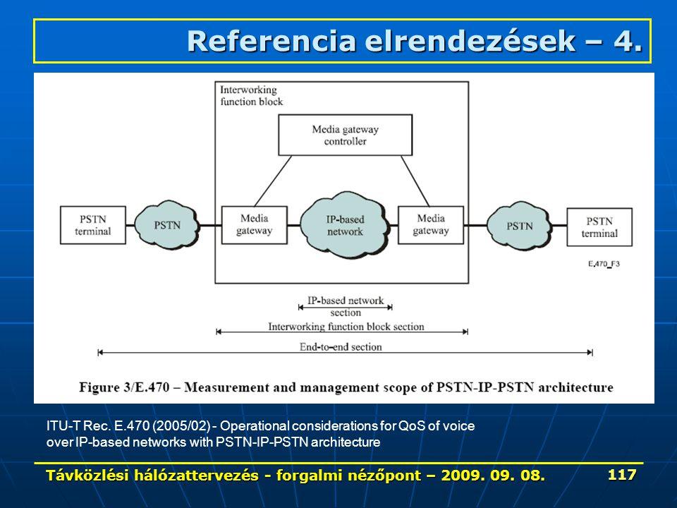 Távközlési hálózattervezés - forgalmi nézőpont – 2009. 09. 08. 117 Referencia elrendezések – 4. ITU-T Rec. E.470 (2005/02) - Operational consideration