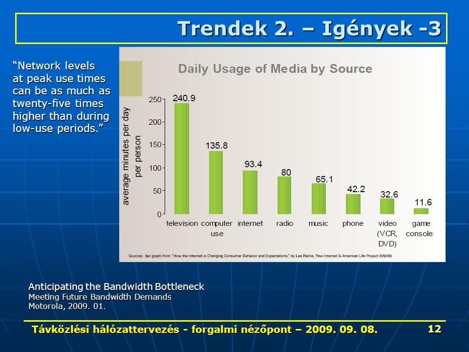 Távközlési hálózattervezés - forgalmi nézőpont – 2009. 09. 08. 12 Trendek 2. – Igények-3 Trendek 2. – Igények -3 Anticipating the Bandwidth Bottleneck