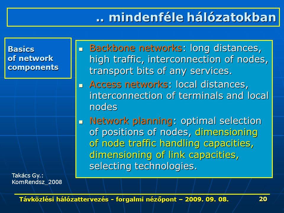 Távközlési hálózattervezés - forgalmi nézőpont – 2009. 09. 08. 20 Basics of network components Backbone networks: long distances, high traffic, interc
