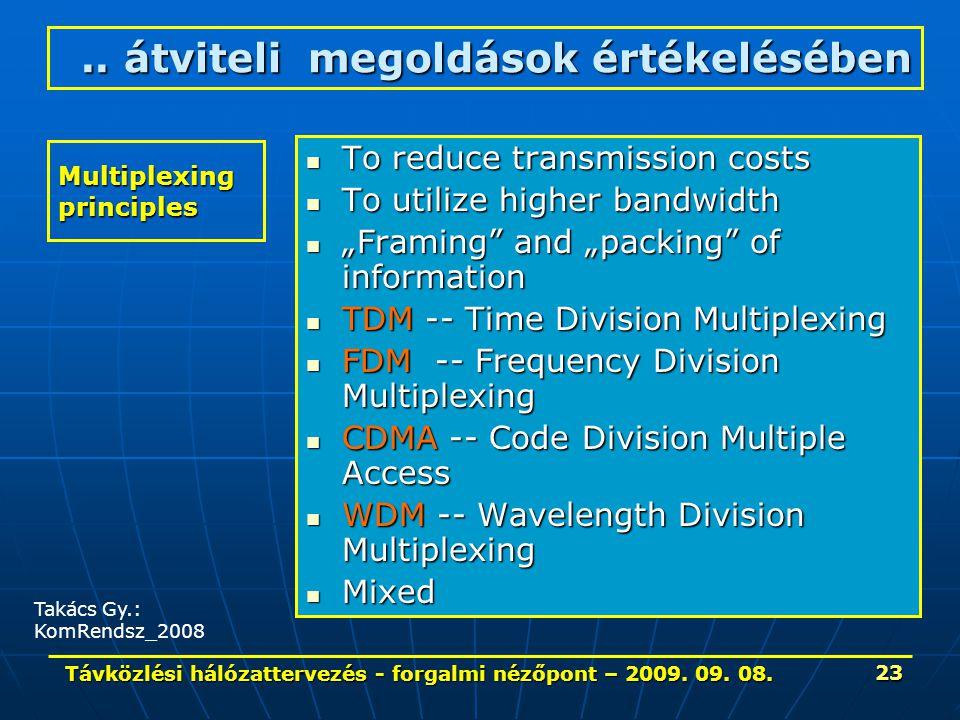 Távközlési hálózattervezés - forgalmi nézőpont – 2009. 09. 08. 23 Multiplexing principles To reduce transmission costs To reduce transmission costs To