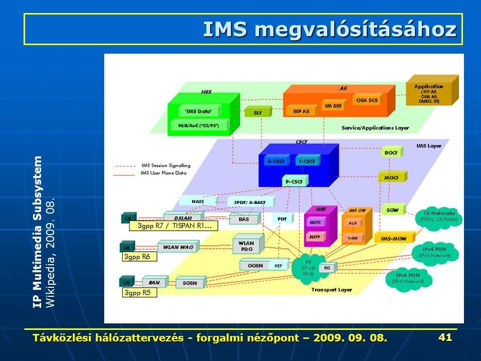 Távközlési hálózattervezés - forgalmi nézőpont – 2009. 09. 08. 41 IMS megvalósításához IP Multimedia Subsystem Wikipedia, 2009. 08.
