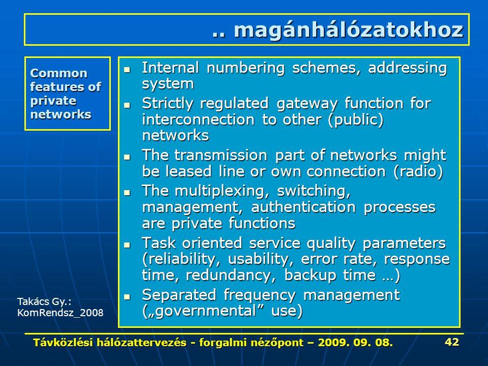 Távközlési hálózattervezés - forgalmi nézőpont – 2009. 09. 08. 42 Common features of private networks Internal numbering schemes, addressing system In