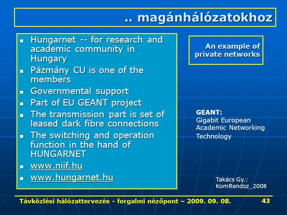 Távközlési hálózattervezés - forgalmi nézőpont – 2009. 09. 08. 43 An example of private networks Hungarnet -- for research and academic community in H