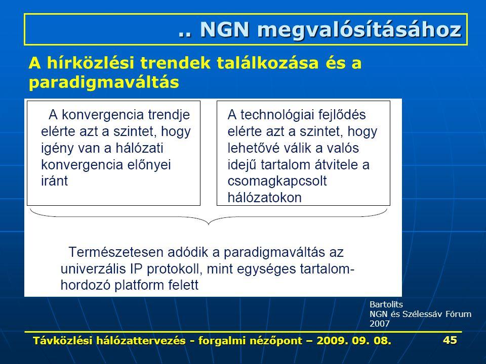 Távközlési hálózattervezés - forgalmi nézőpont – 2009. 09. 08. 45.. NGN megvalósításához A hírközlési trendek találkozása és a paradigmaváltás Bartoli
