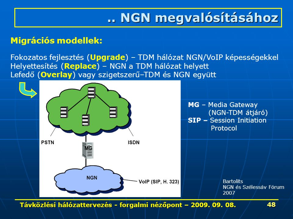 Távközlési hálózattervezés - forgalmi nézőpont – 2009. 09. 08. 48 Bartolits NGN és Szélessáv Fórum 2007.. NGN megvalósításához Migrációs modellek: Fok