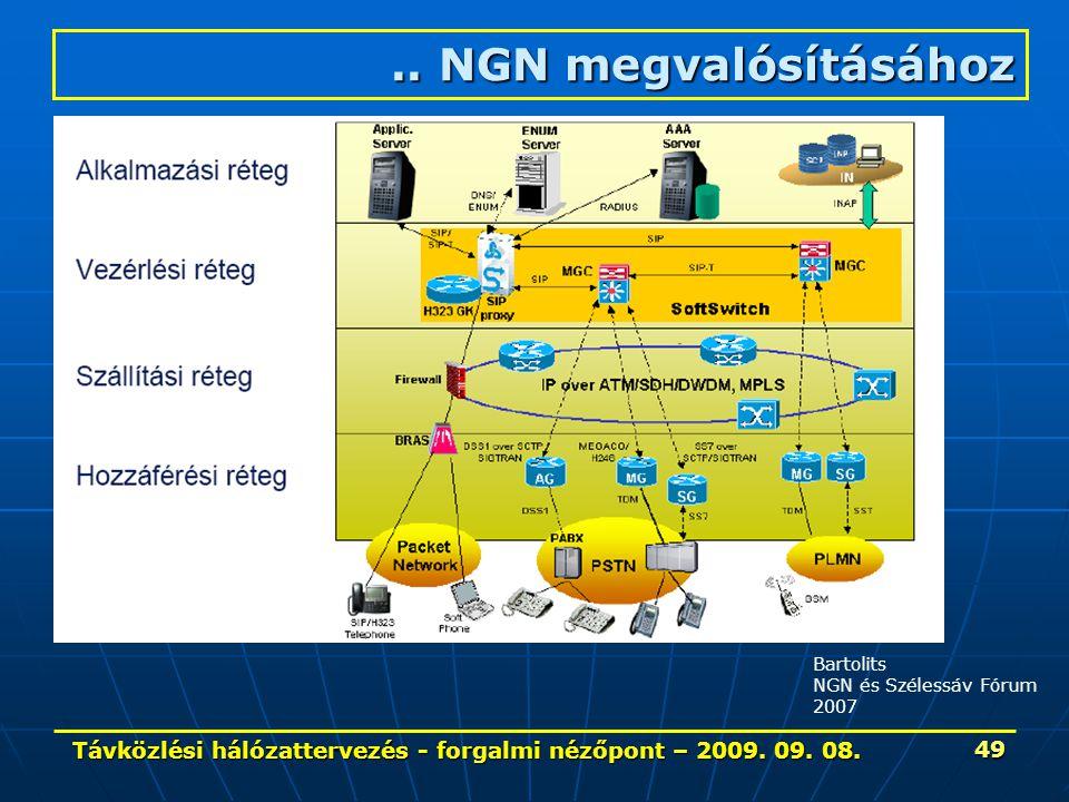 Távközlési hálózattervezés - forgalmi nézőpont – 2009. 09. 08. 49 Bartolits NGN és Szélessáv Fórum 2007.. NGN megvalósításához