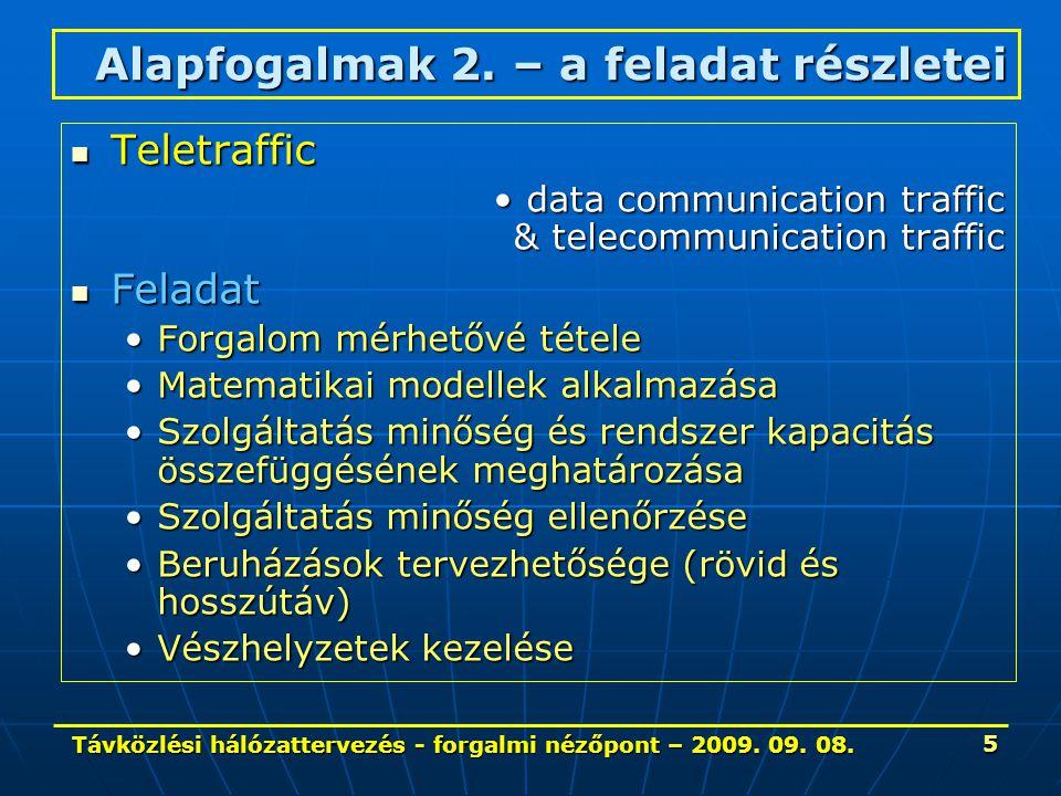 Távközlési hálózattervezés - forgalmi nézőpont – 2009. 09. 08. 5 Teletraffic Teletraffic data communication traffic & telecommunication trafficdata co