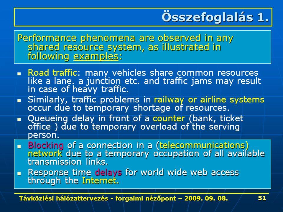 Távközlési hálózattervezés - forgalmi nézőpont – 2009. 09. 08. 51 Összefoglalás 1. Performance phenomena are observed in any shared resource system, a