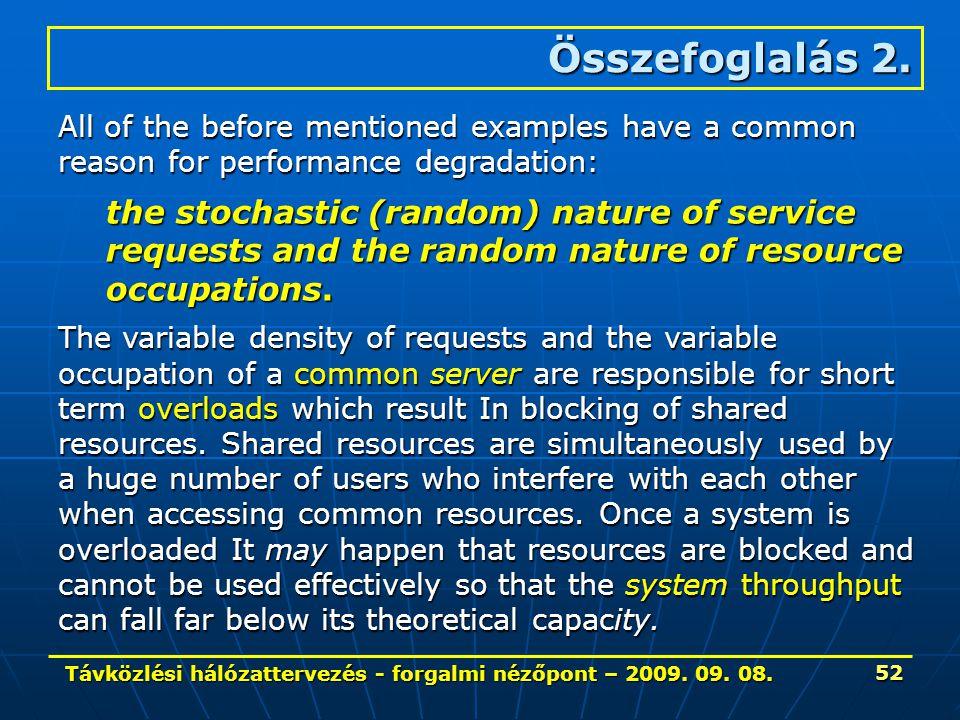 Távközlési hálózattervezés - forgalmi nézőpont – 2009. 09. 08. 52 All of the before mentioned examples have a common reason for performance degradatio