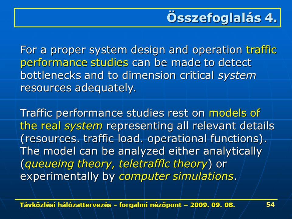Távközlési hálózattervezés - forgalmi nézőpont – 2009. 09. 08. 54 Összefoglalás 4. For a proper system design and operation traffic performance studie