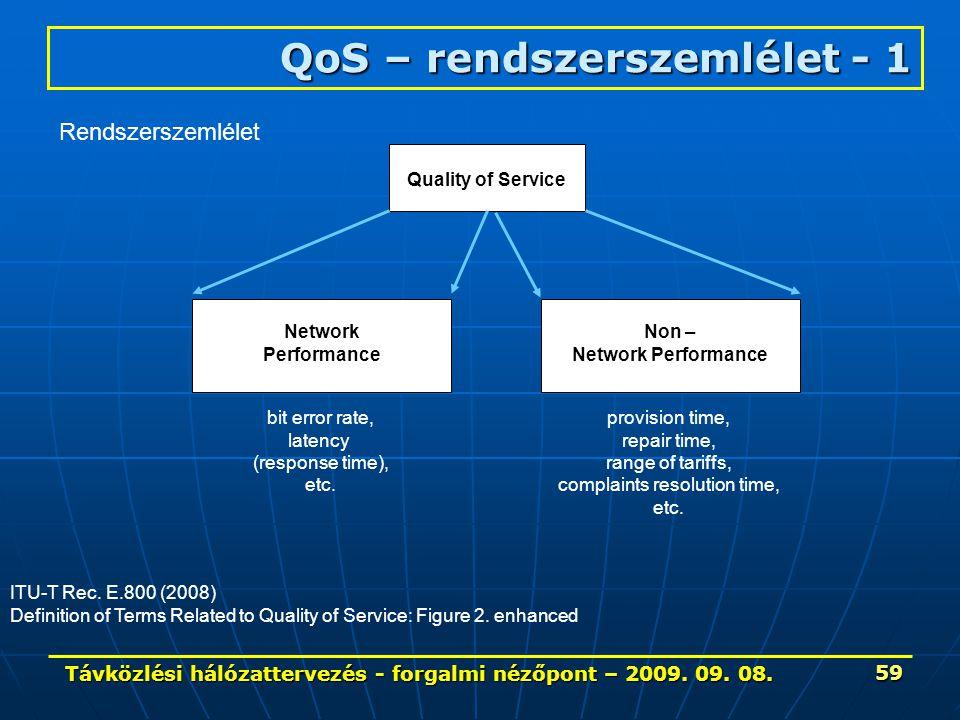 Távközlési hálózattervezés - forgalmi nézőpont – 2009. 09. 08. 59 QoS – rendszerszemlélet - 1 ITU-T Rec. E.800 (2008) Definition of Terms Related to Q