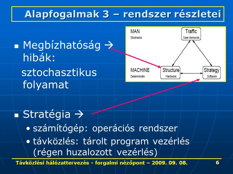 Távközlési hálózattervezés - forgalmi nézőpont – 2009. 09. 08. 6 Megbízhatóság  hibák: sztochasztikus folyamat Stratégia  számítógép: operációs rend