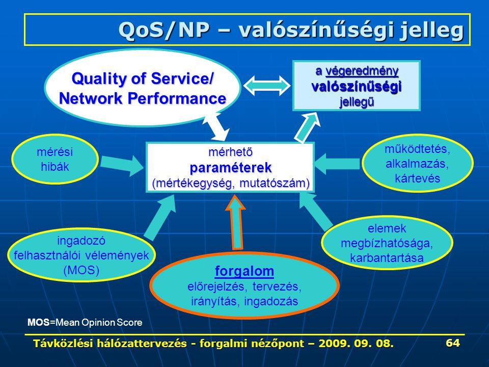 Távközlési hálózattervezés - forgalmi nézőpont – 2009. 09. 08. 64 QoS/NP – valószínűségi jelleg Quality of Service/ Network Performance mérhetőparamét