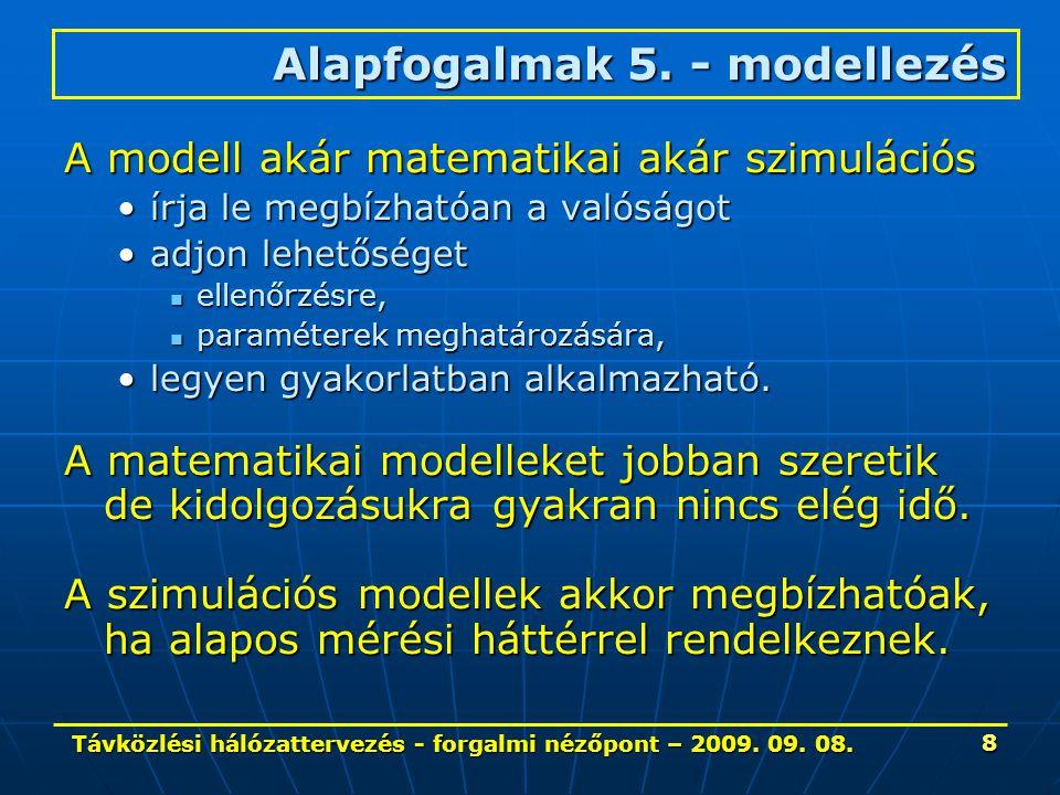 Távközlési hálózattervezés - forgalmi nézőpont – 2009. 09. 08. 8 A modell akár matematikai akár szimulációs írja le megbízhatóan a valóságotírja le me