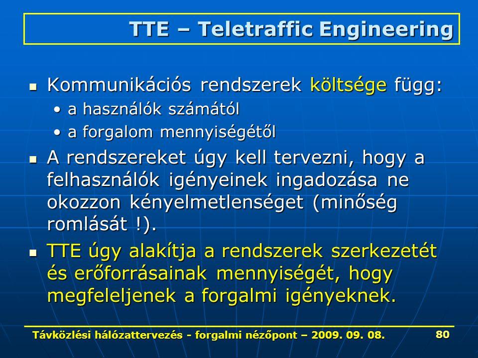 Távközlési hálózattervezés - forgalmi nézőpont – 2009. 09. 08. 80 Kommunikációs rendszerek költsége függ: Kommunikációs rendszerek költsége függ: a ha