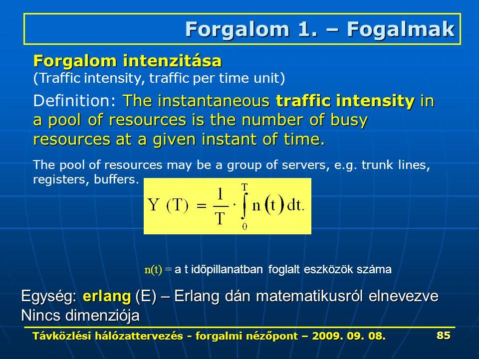 Távközlési hálózattervezés - forgalmi nézőpont – 2009. 09. 08. 85 Forgalom 1. – Fogalmak The instantaneous traffic intensity in a pool of resources is