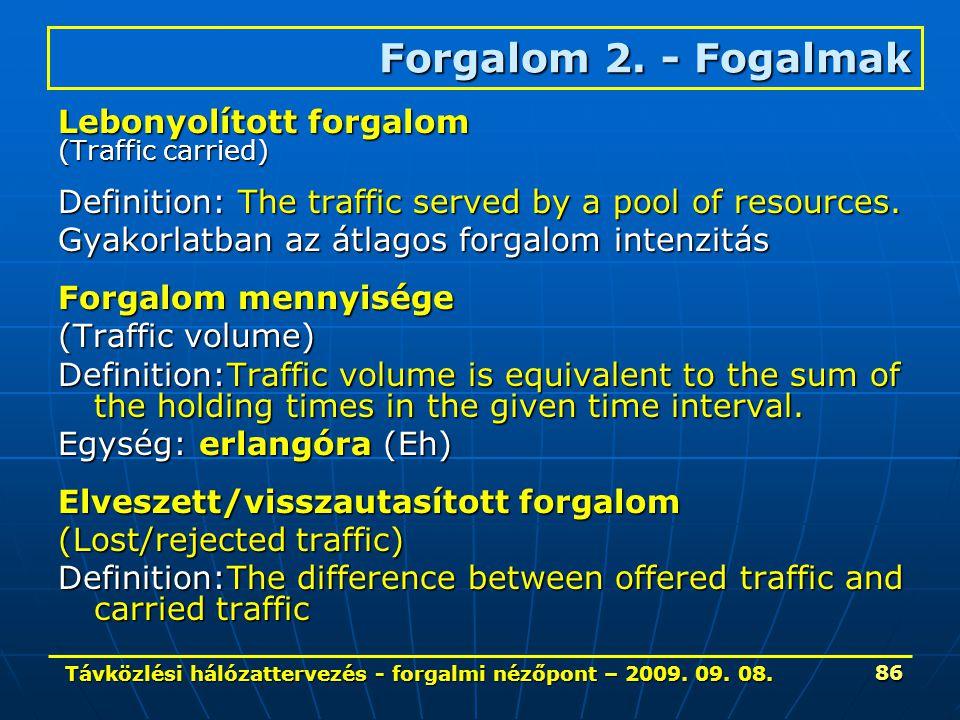 Távközlési hálózattervezés - forgalmi nézőpont – 2009. 09. 08. 86 Lebonyolított forgalom (Traffic carried) Definition: The traffic served by a pool of