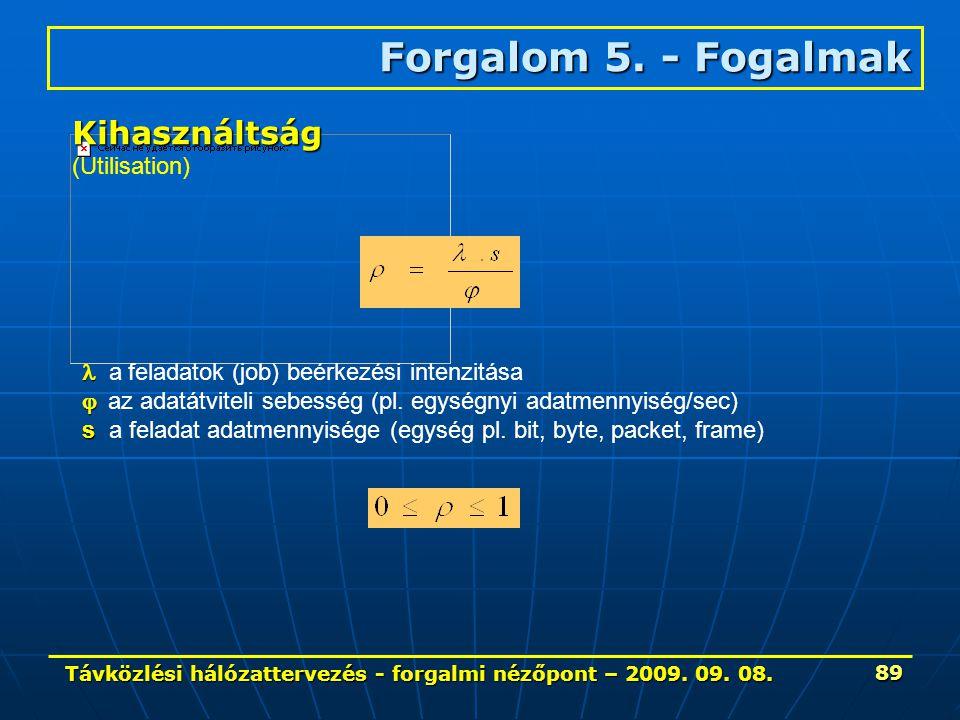 Távközlési hálózattervezés - forgalmi nézőpont – 2009. 09. 08. 89 Forgalom 5. - Fogalmak Kihasználtság (Utilisation) a feladatok (job) beérkezési inte