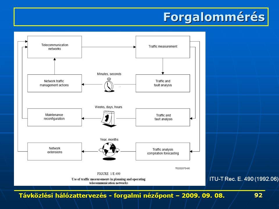 Távközlési hálózattervezés - forgalmi nézőpont – 2009. 09. 08. 92 Forgalommérés ITU-T Rec. E. 490 (1992.06)