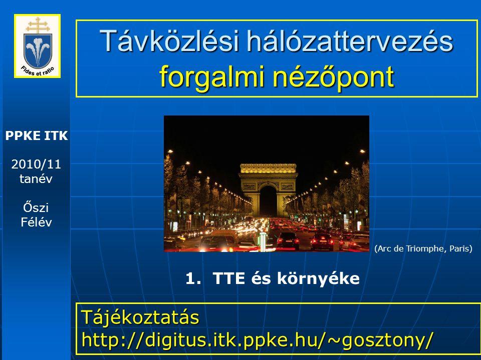 PPKE ITK 2010/11 tanév Őszi Félév Távközlési hálózattervezés forgalmi nézőpont Tájékoztatás http://digitus.itk.ppke.hu/~gosztony/ 1. TTE és környéke (