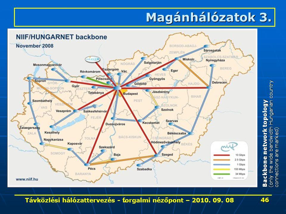 . Magánhálózatok 3. Backbone network topology (only the wide bandwidth Hungarian country connections are marked) 46 Távközlési hálózattervezés - forga
