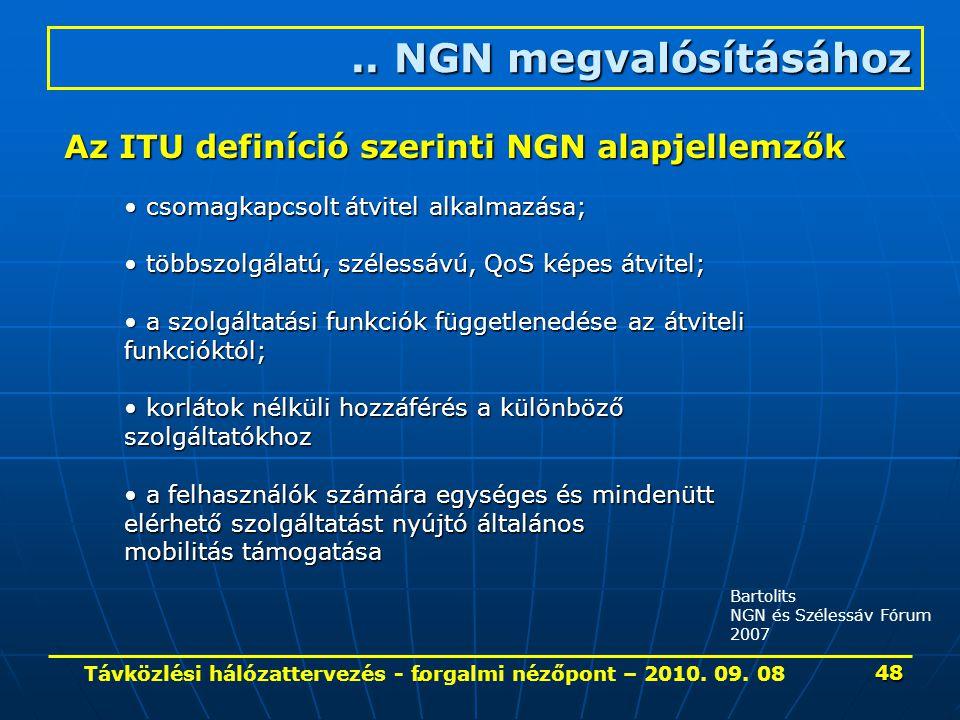 . Bartolits NGN és Szélessáv Fórum 2007.. NGN megvalósításához Az ITU definíció szerinti NGN alapjellemzők csomagkapcsolt átvitel alkalmazása; többszo