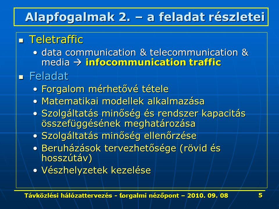 1 - 4 A hírközlési forgalom közelebbről Fogalmak, jellemzők, mérési pontok 86 Távközlési hálózattervezés - forgalmi nézőpont – 2010.