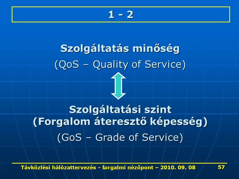 . 1 - 2 Szolgáltatás minőség (QoS – Quality of Service) Szolgáltatási szint (Forgalom áteresztő képesség) (GoS – Grade of Service) 57 Távközlési hálóz